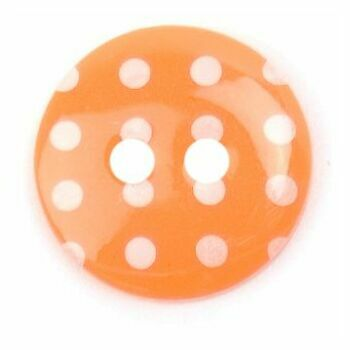 Bright Orange/White Spotted 2 hole button: 15mm