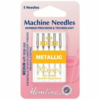Hemline Metallic Machine Needles - 80/12