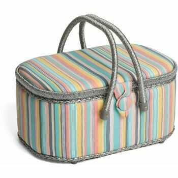 HobbyGift Classic Oval Sewing Box (Large) - Candy Stripe